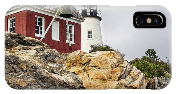 Pumphouse And Tower, Pemaquid Light, Bristol, Maine  -18958 IPhone Case