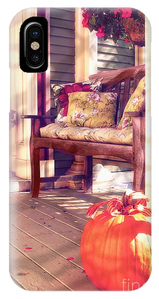 Porch iPhone Case - Pumpkin Porch by Mindy Sommers