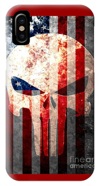 Punisher Themed Skull And American Flag On Distressed Metal Sheet IPhone Case