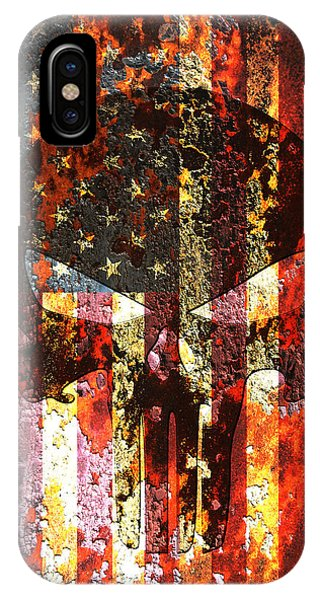 Punisher Skull On Rusted American Flag IPhone Case