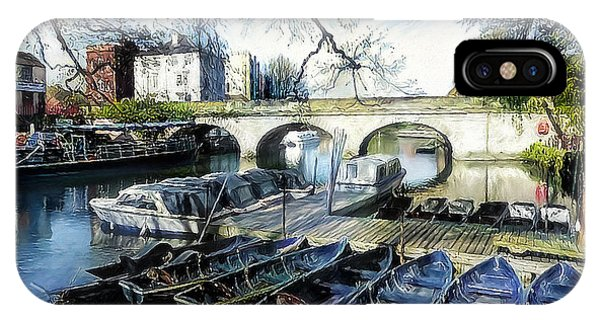 IPhone Case featuring the digital art Punting On The Thames by Pennie McCracken