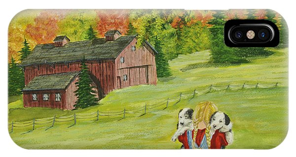 New England Barn iPhone Case - Puppy Love by Charlotte Blanchard