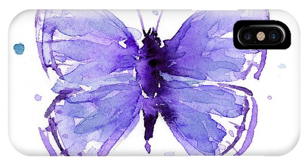 Blue Violet iPhone Case - Purple Abstract Butterfly by Olga Shvartsur