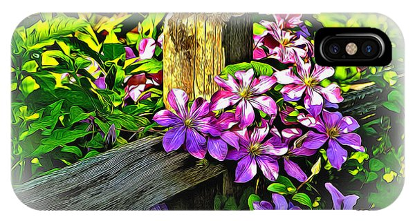 Purple Clematis On Split Rail Fence IPhone Case