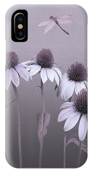 Purple Coneflowers And Dragonfly IPhone Case