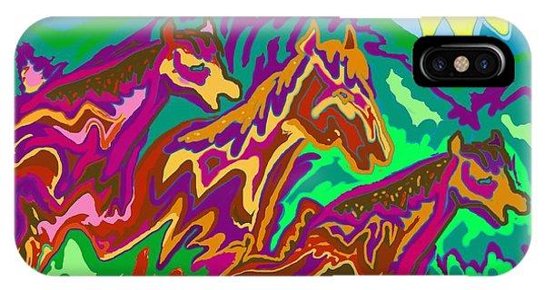 Purple Feathered Horses IPhone Case