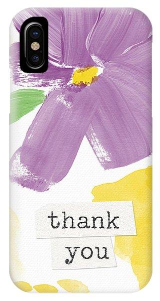 Purple iPhone Case - Purple Flower Thank You Card- Art By Linda Woods by Linda Woods
