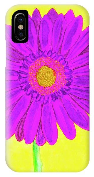 Purple  Gerbera On Yellow, Watercolor IPhone Case
