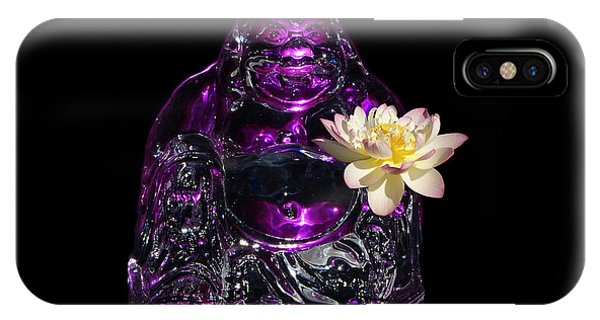 Purple Glass Buddah With Yellow Lotus Flower IPhone Case