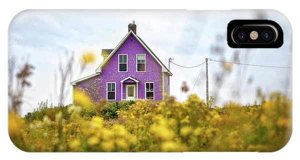 iPhone Case - Purple House And Yellow Flowers by Jane Rix