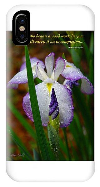 Purple Iris In Morning Dew IPhone Case