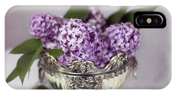 Purple Lilacs In Silver Bowl IPhone Case