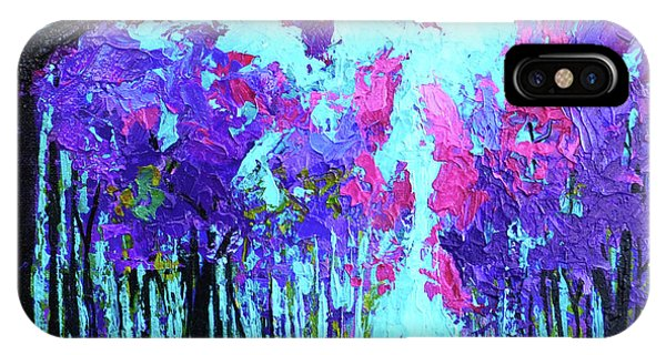 IPhone Case featuring the painting Purple Magenta, Forest, Modern Impressionist, Palette Knife Painting by Patricia Awapara
