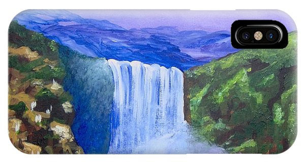 IPhone Case featuring the painting Purple Mountains by Saundra Johnson