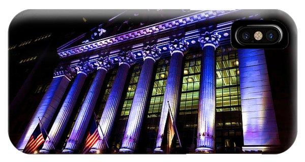 Purple New York Stock Exchange At Night - Impressions Of Manhattan IPhone Case