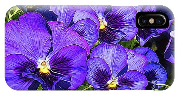 Purple Pansies In Morning Light IPhone Case