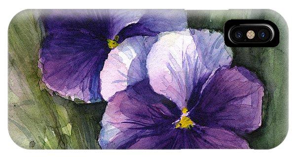 Violet iPhone Case - Purple Pansies Watercolor by Olga Shvartsur