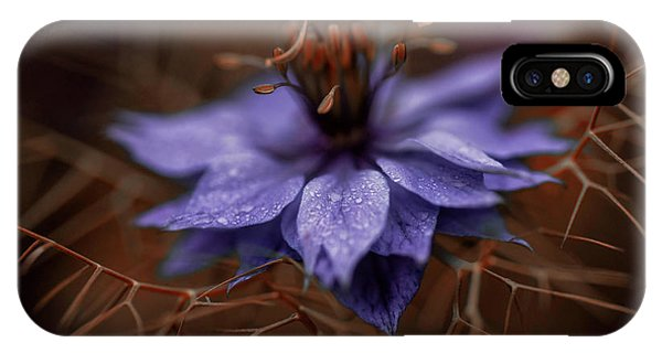 Close Focus Floral iPhone Case - Purple Rain Drops by Garry Solomon
