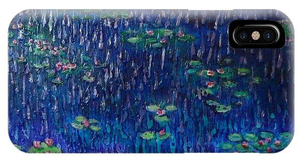 Purple Rain On Water Lilies IPhone Case