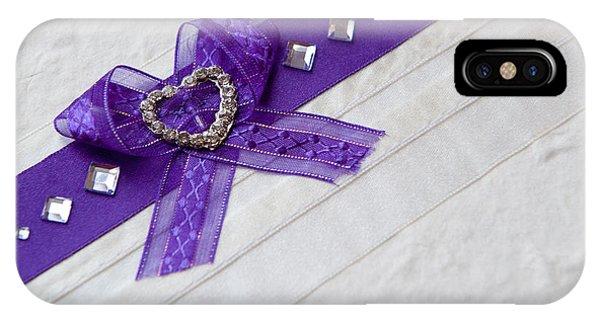 Purple Ribbon Heart IPhone Case