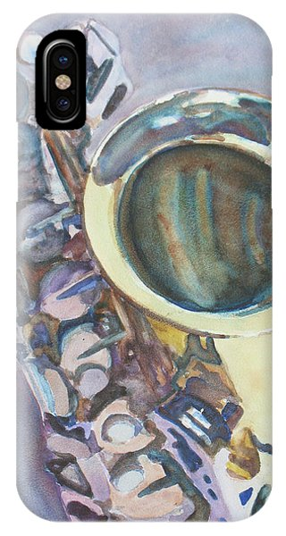 Saxophone iPhone Case - Purple Sax by Jenny Armitage
