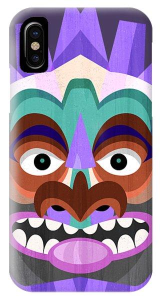Tiki Bar iPhone Case - Purple Tiki Mask by Antique Images