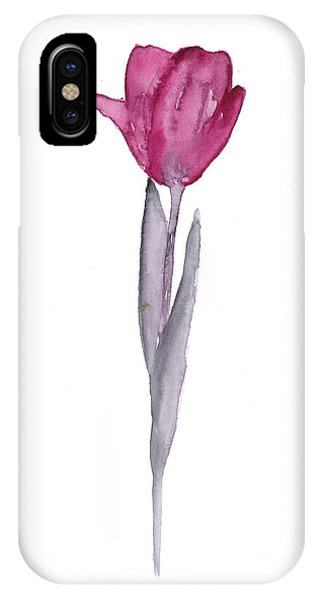 Purple Tulip Botanical Artwork Poster IPhone Case