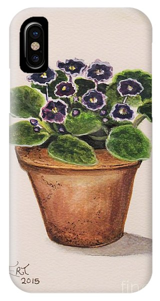 Garden iPhone X Case - Purple Violets by Elizabeth Robinette Tyndall