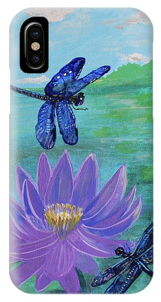 Purple Water Lily And Dragonflies IPhone Case