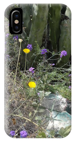 Purple Yellow Flowers Green Cactus IPhone Case