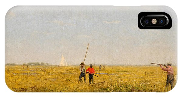 Tidal Marsh iPhone Case - Pushing For Rail, 1874 by Thomas Cowperthwait Eakins