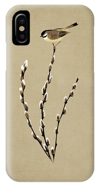 Pussy Willow And Chickadee IPhone Case