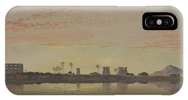 Pylon iPhone Case - Pylons At Karnak, The Theban Mountains In The Distance by Edward William Cooke