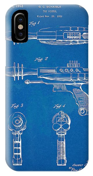 Weapons iPhone Case - Pyrotomic Disintegrator Pistol Patent by Nikki Marie Smith