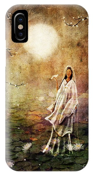 Buddhism iPhone Case - Quan Yin In A Lotus Pond by Laura Iverson