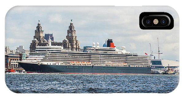 Queen Elizabeth Cruise Ship At Liverpool IPhone Case