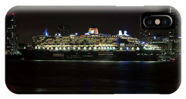 Queen Mary 2 At Night In Liverpool IPhone Case