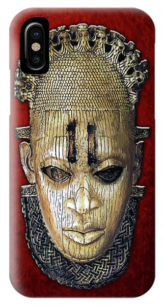 Queen Mother Idia - Ivory Hip Pendant Mask - Nigeria - Edo Peoples - Court Of Benin On Red Velvet IPhone Case