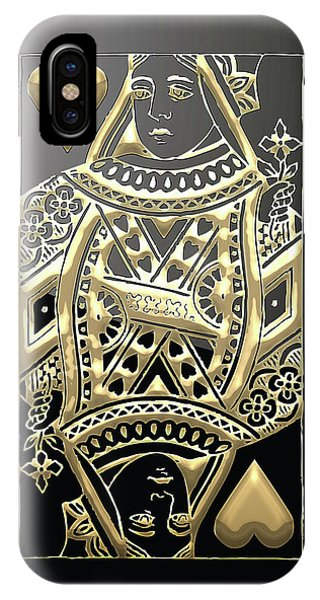 Queen Of Hearts In Gold On Black IPhone Case
