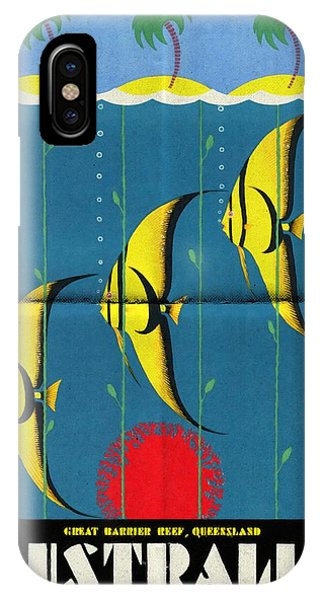 Queensland Great Barrier Reef - Vintage Poster Folded IPhone Case