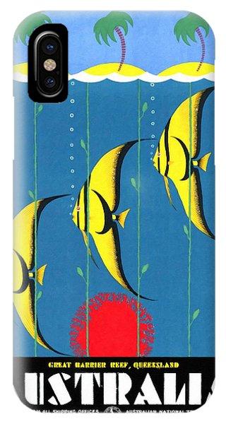 Queensland Great Barrier Reef - Restored Vintage Poster IPhone Case