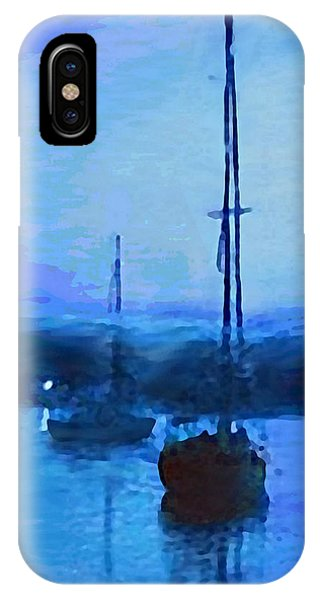 IPhone Case featuring the painting Quiet Evening Maryland Chesapeake Bay Detail Multimedia Fine Art Painting by G Linsenmayer