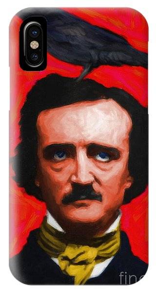 Quoth The Raven Nevermore - Edgar Allan Poe - Painterly - Red -  IPhone Case
