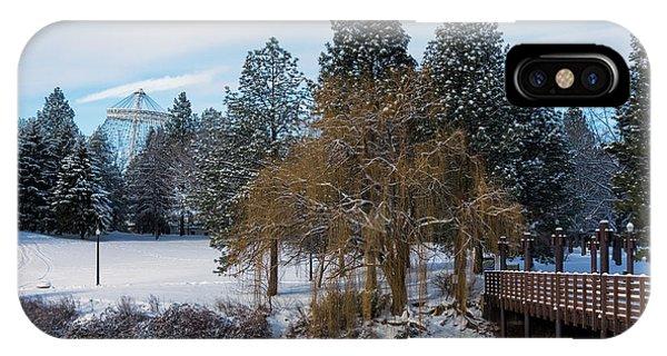 Centennial Bridge iPhone Case - R F P Centennial Trail Spokane Winter 2 by Daniel Hagerman