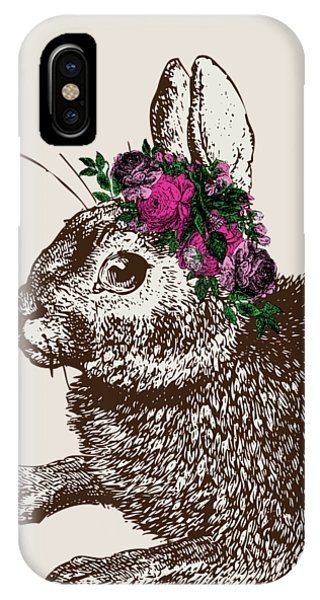 Floral iPhone X Case - Rabbit And Roses by Eclectic at HeART