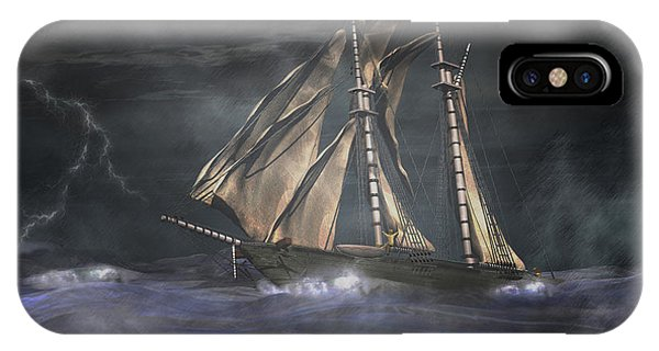 Schooner iPhone Case - Racing The Storm by Carol and Mike Werner