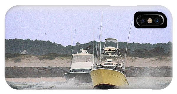 IPhone Case featuring the photograph Racing Thru The Inlet by Robert Banach
