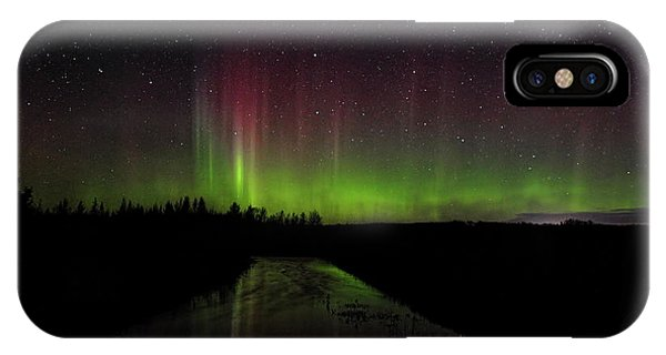 Red And Green Aurora Pillars IPhone Case