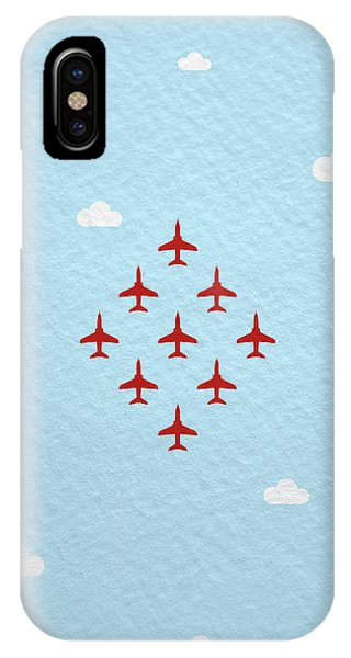 Hawk iPhone Case - Raf Red Arrows In Formation by Samuel Whitton