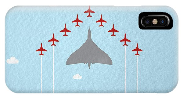 Bomber iPhone Case - Raf Red Arrows In Formation With Vulcan Bomber by Samuel Whitton